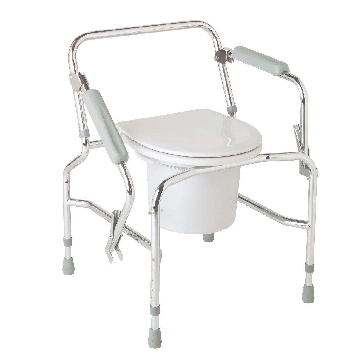 Steel Drop-Arm Commode, COMMODE,DROP ARM,CHROME PLATED,STEEL PF04651