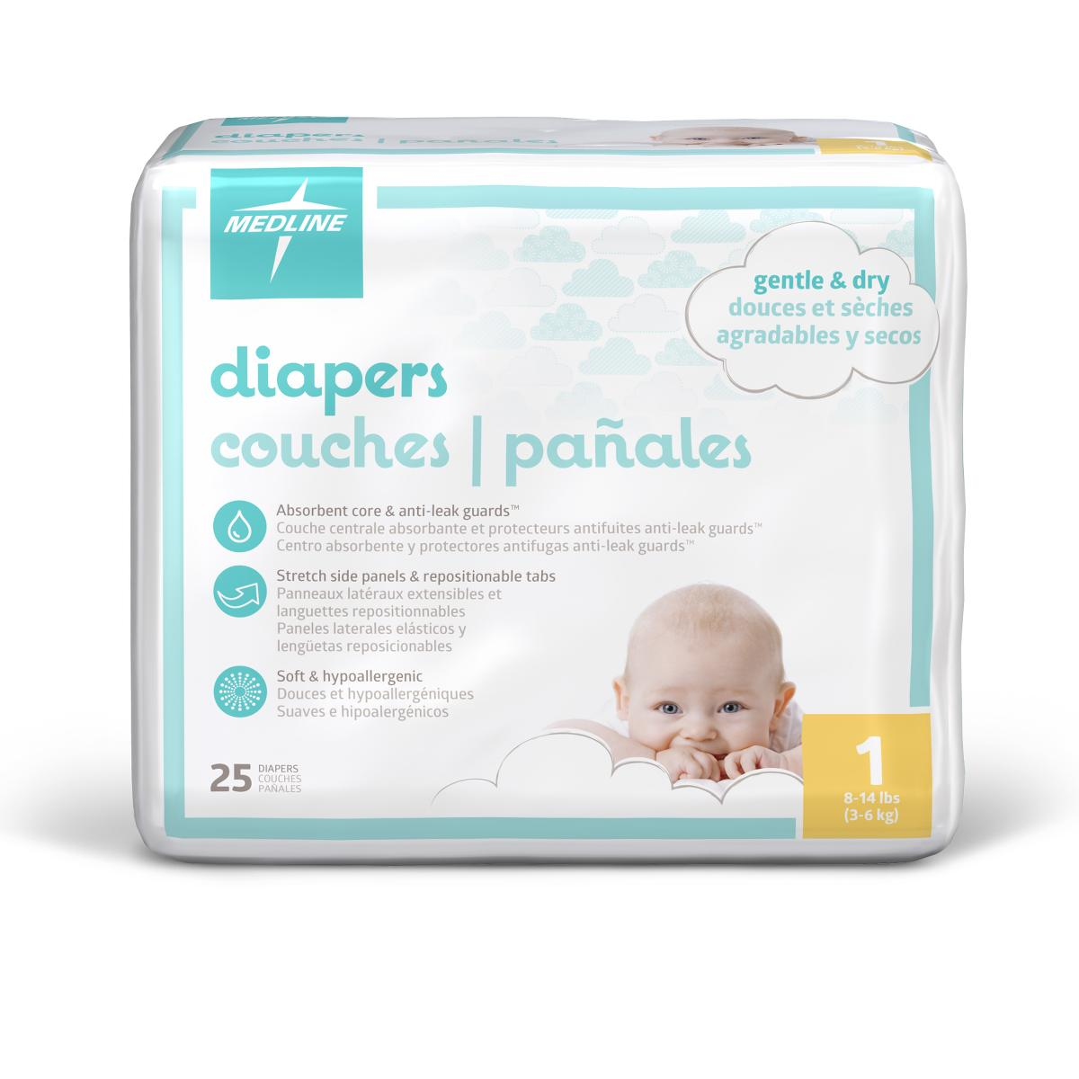 Medline Disposable Baby Diapers,White,Sizes 1 - 6, Preemie - 35+ Lbs-