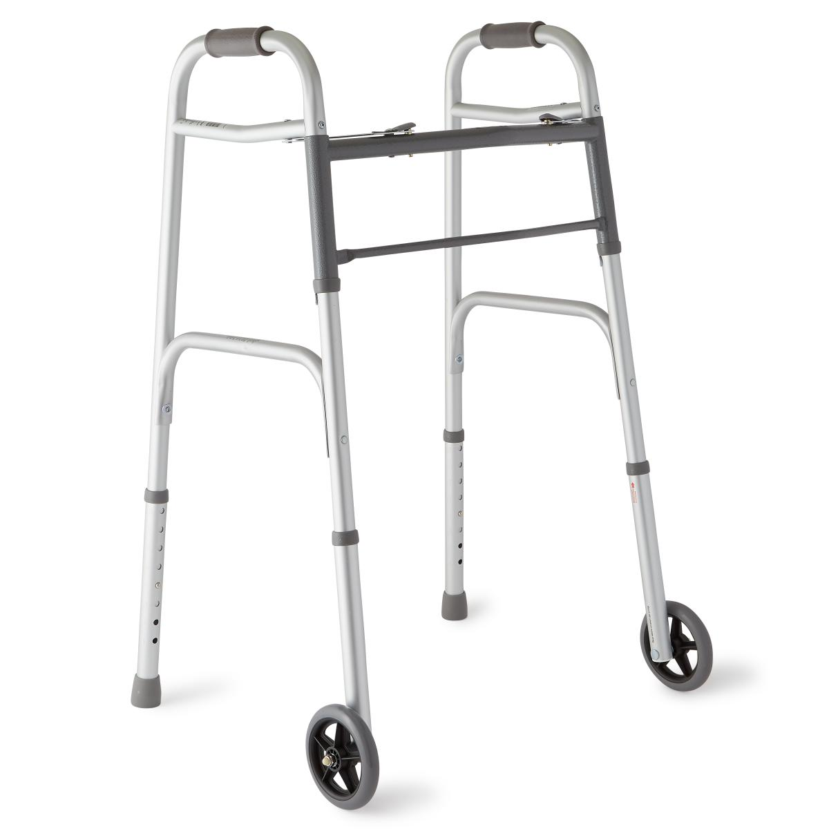 "Two-Button Folding Walkers With 5"" Wheels,5""-"