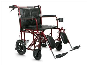 Ultralight Bariatric Transport Chair (22in Red)